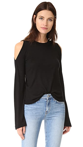 Derek Lam 10 Crosby Cold Shoulder Flare Sleeve Sweater - Black