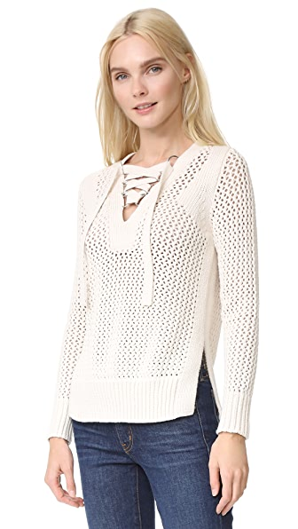 Derek Lam 10 Crosby Lace Up V Neck Sweater - Natural
