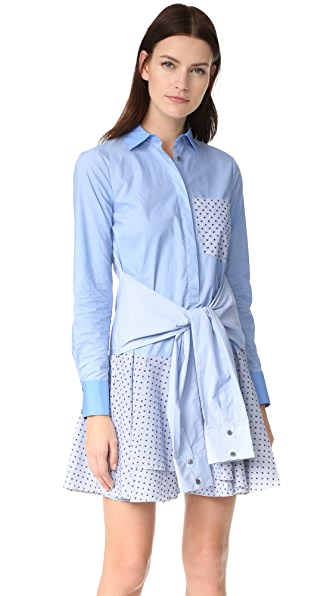 Derek Lam 10 Crosby Tie Waist Shirtdress - Oxford Multi
