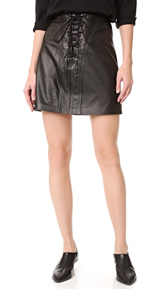 Derek Lam 10 Crosby Miniskirt with Lacing - Black
