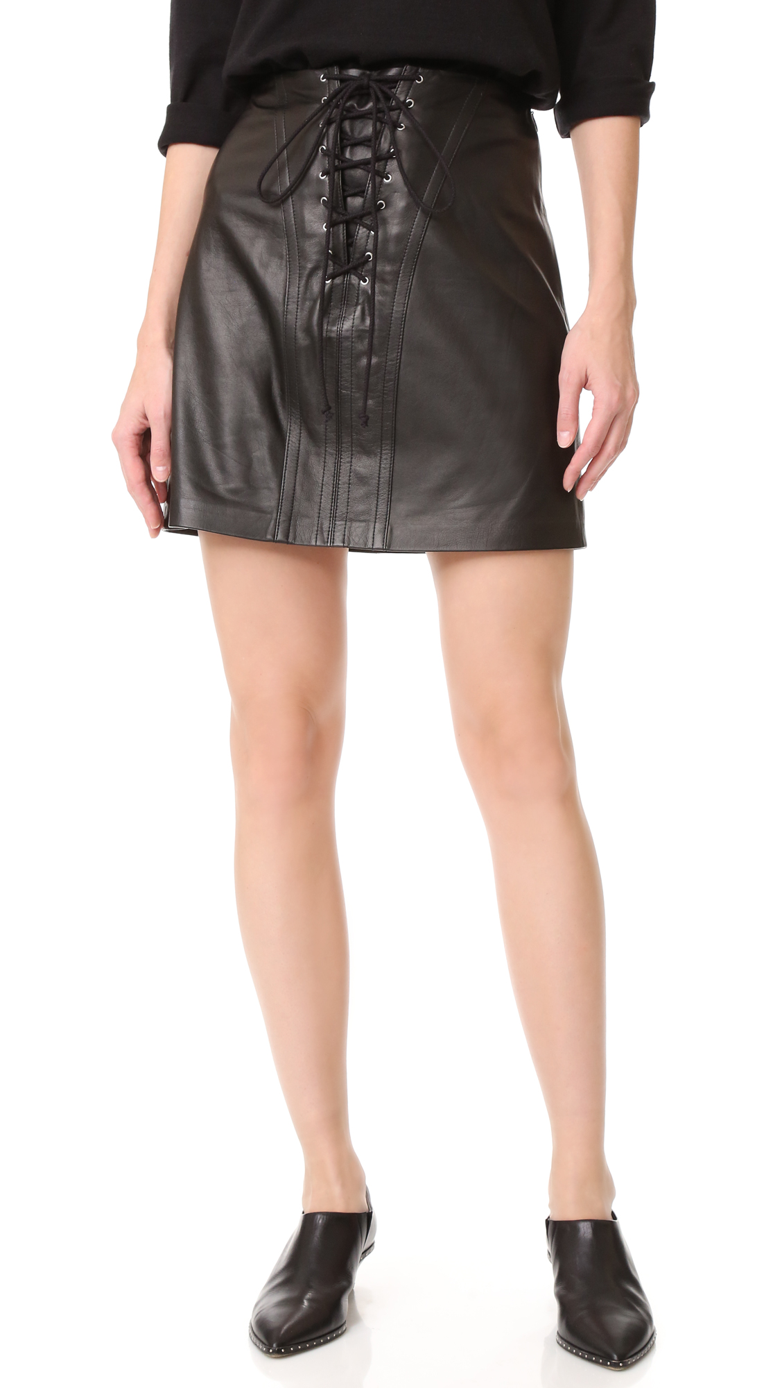 Lace up detailing lends a sexy, corset inspired element to this supple leather Derek Lam 10 Crosby miniskirt. Hidden side zip. Lined. Fabric: Leather. Shell: 100% sheepskin. Lining: 100% polyester. Leather clean. Imported, China. Measurements Length: 17.25in / 44cm Measurements