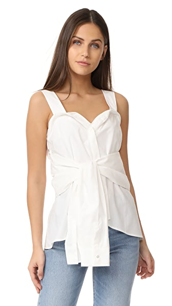 Derek Lam 10 Crosby Tie Front Sleeveless Top In Soft White
