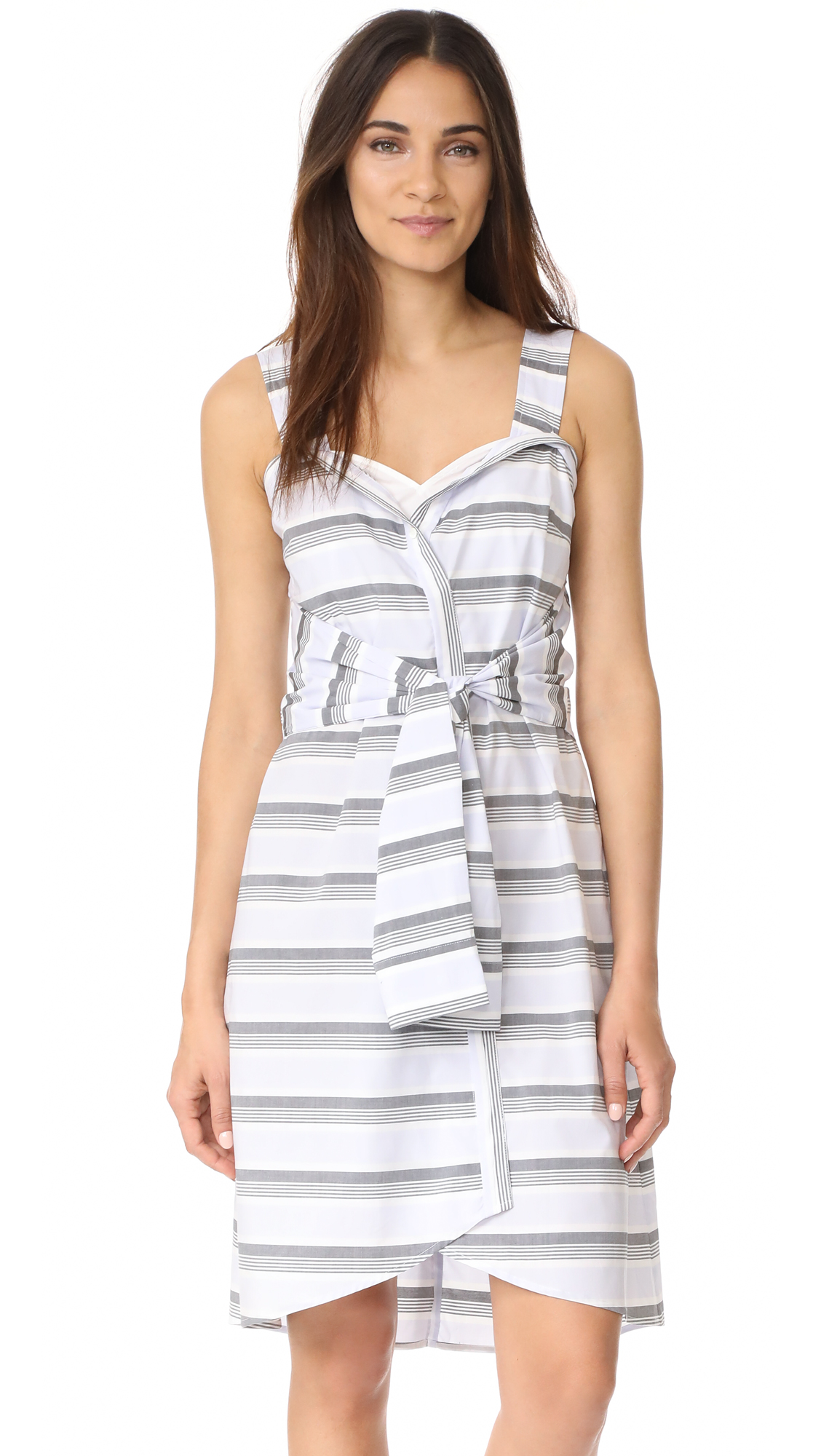 Derek Lam 10 Crosby Sleeveless Tie Front Dress - Sky