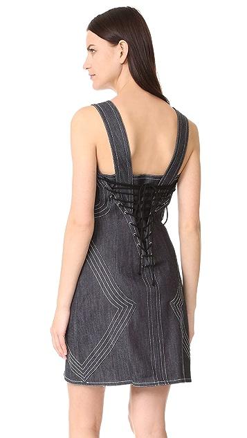 Derek Lam 10 Crosby Raw Denim Sleeveless Fitted Dress