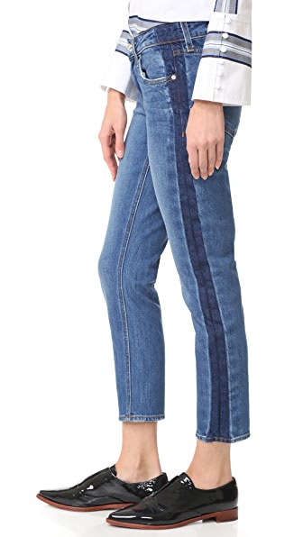 Derek Lam 10 Crosby Mila Tuxedo Stripe Boyfriend Jeans In Medium Wash