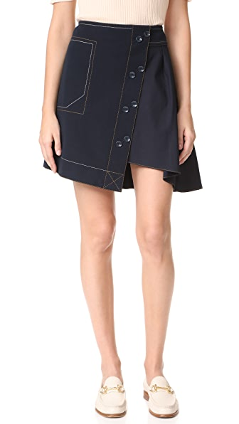 Derek Lam 10 Crosby A-Line Skirt with Poplin Combo - Midnight