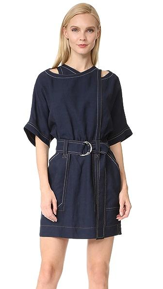 Derek Lam 10 Crosby Belted Utility Dress In Midnight