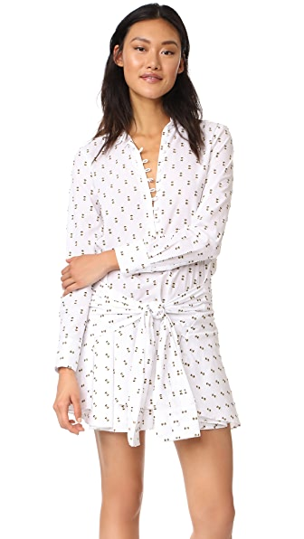 Derek Lam 10 Crosby Tie Waist Shirtdress with Button Detail In Soft White