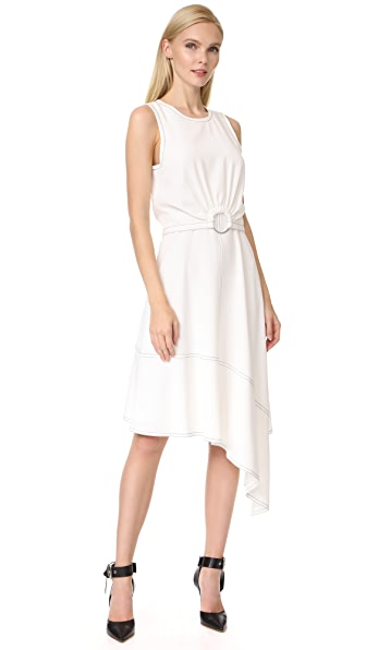 Derek Lam 10 Crosby Sleeveless Dress with Ring Detail In Soft White