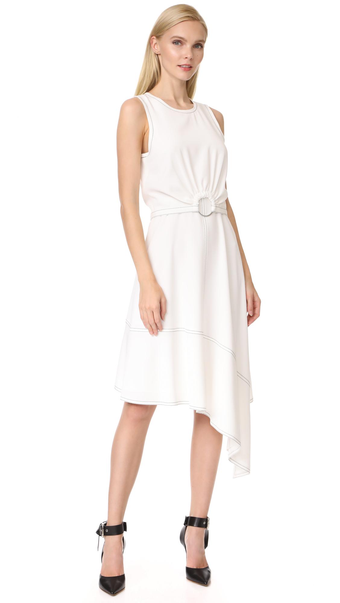 Derek Lam 10 Crosby Sleeveless Dress with Ring Detail - Soft White