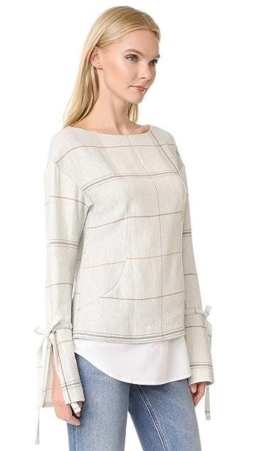 Derek Lam 10 Crosby Tie Sleeve Pullover with Shirt Hem