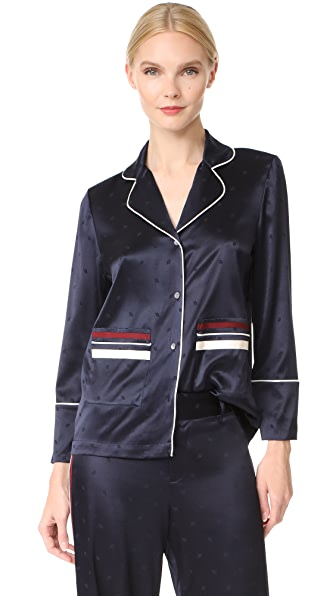 Derek Lam 10 Crosby Pajama Blouse In Midnight