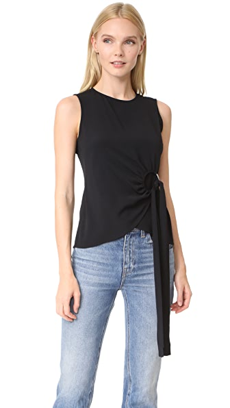 Derek Lam 10 Crosby Sleeveless Top with Ring Detail - Black