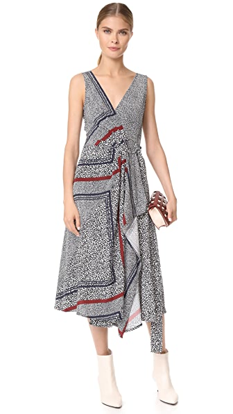 Derek Lam 10 Crosby Wrap Dress with Pleating - Black