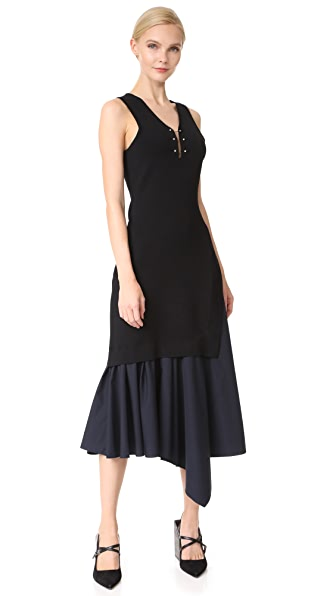 Derek Lam 10 Crosby V Neck Knit Dress with Poplin Hem - Black/Midnight