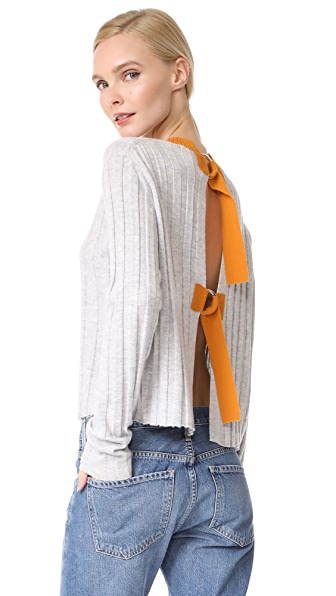 Derek Lam 10 Crosby Open Back Sweater - Grey/Tumeric