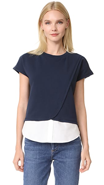 Derek Lam 10 Crosby Crossover Top In Midnight