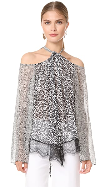Derek Lam 10 Crosby Cold Shoulder Halter Blouse with Lace