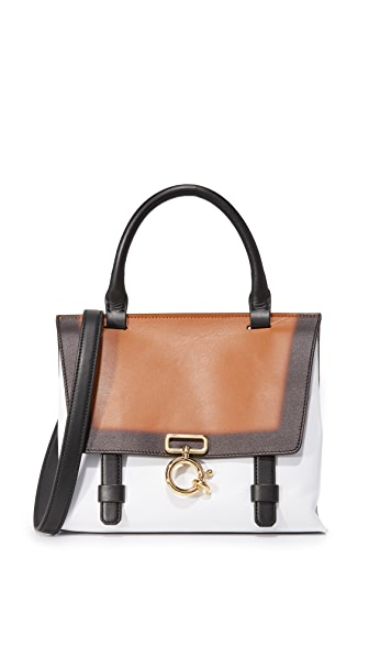 Derek Lam 10 Crosby Mini Ave A Top Handle Bag - White/Cognac/Black