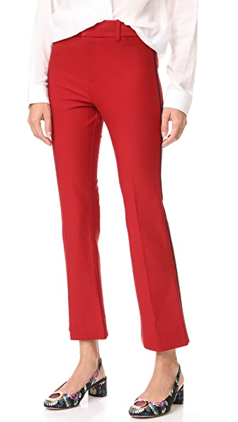 Derek Lam 10 Crosby Cropped Flare Trousers with Tuxedo Piping Detail - Tomato