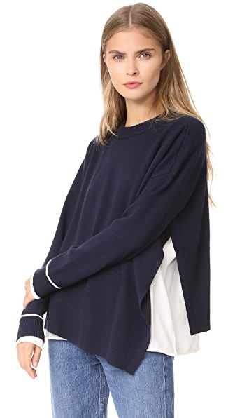 Derek Lam 10 Crosby Sweater with Asymmetrical Hem - Navy/White