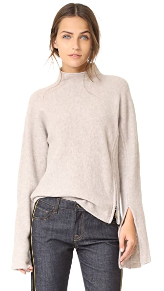 Derek Lam 10 Crosby Mockneck Sweater with Slit Detail - Natural