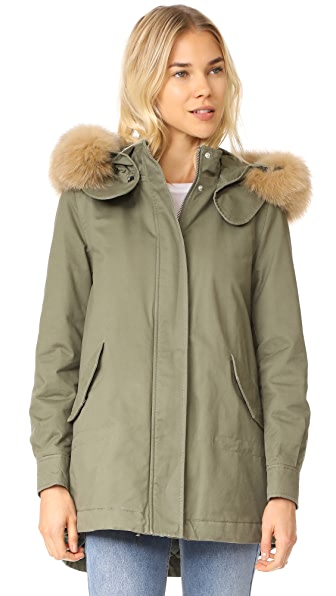 Derek Lam 10 Crosby Fox Trimmed Parka with Inside Quilting - Loden