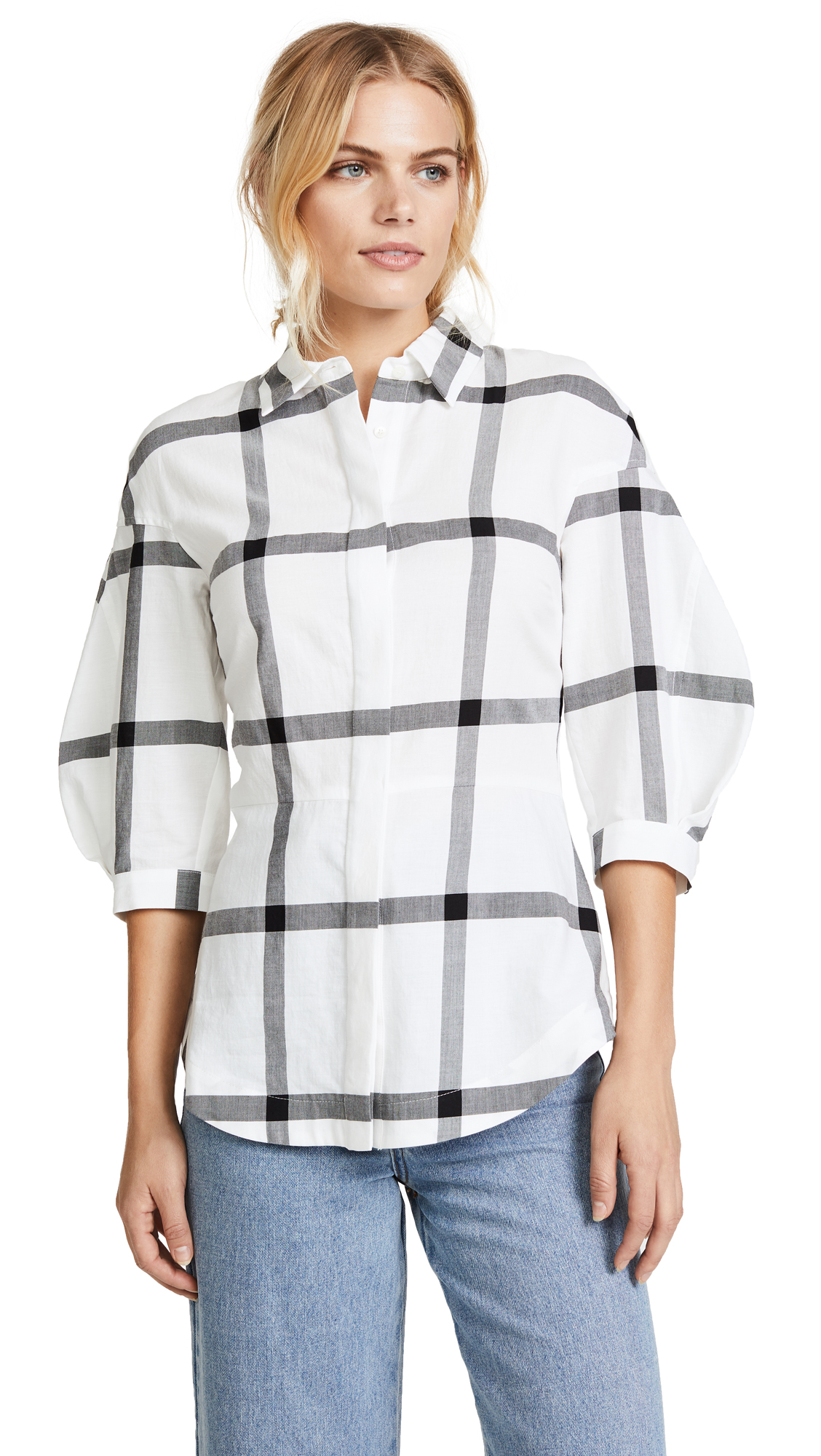 Derek Lam 10 Crosby Buttondown Shirt with Lace Up Back - Soft White