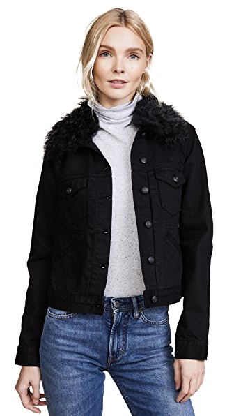 Derek Lam 10 Crosby Toby Classic Jean Jacket with Shearling Collar at Shopbop