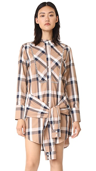 Derek Lam 10 Crosby Collarless Tie Waist Shirtdress - Camel