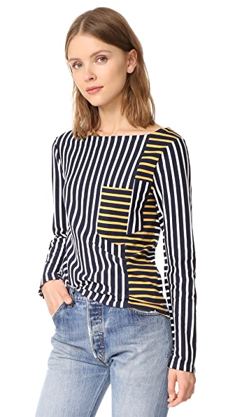Derek Lam 10 Crosby Stripe Boat Neck Pullover In Midnight