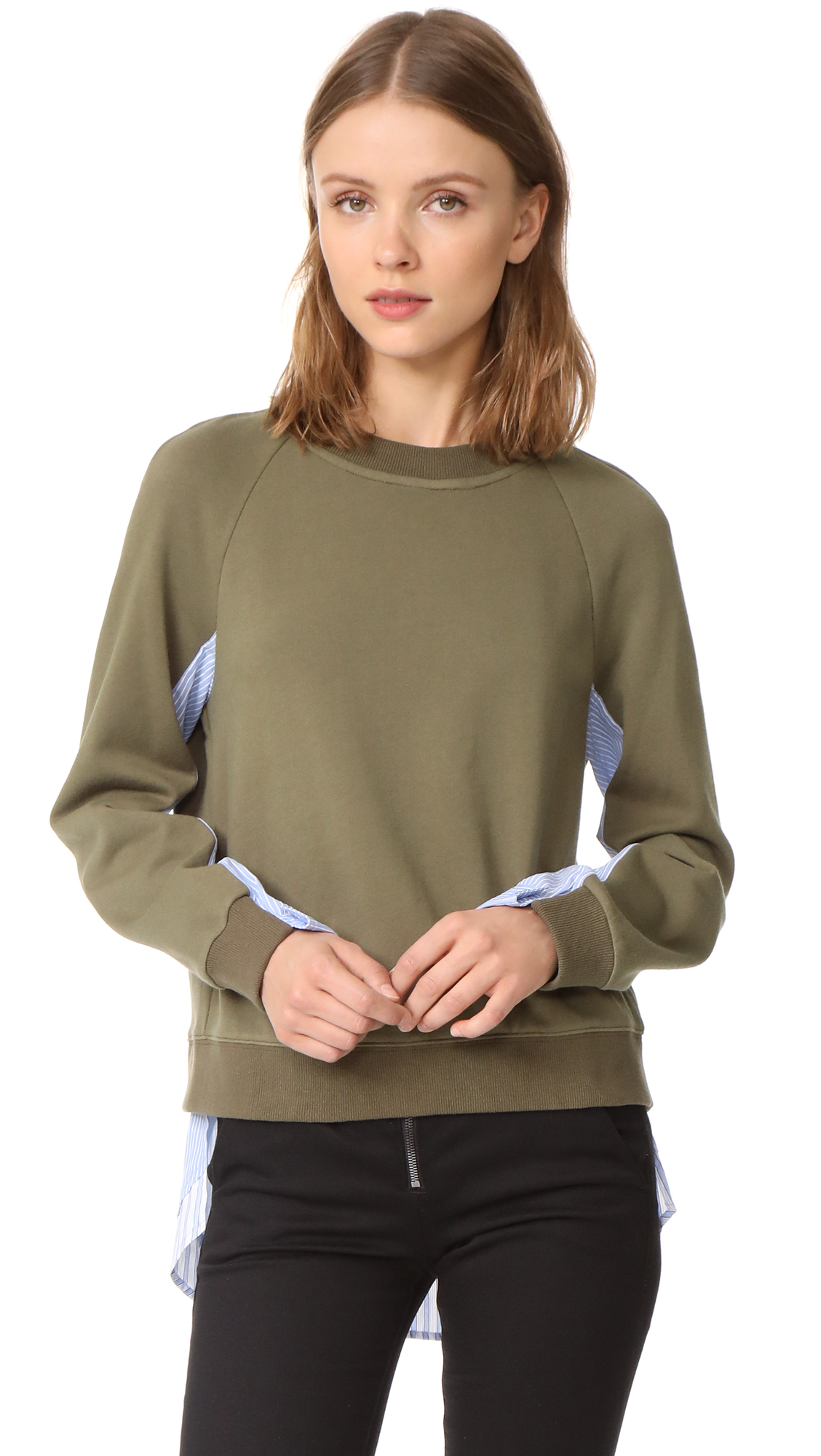 Derek Lam 10 Crosby Sweatshirt with Shirting Combo - Army