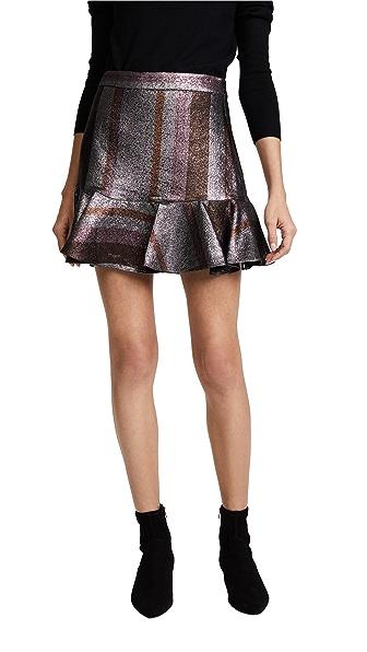 Derek Lam 10 Crosby Ruffle Hem Flounce Skirt In Silver Multi