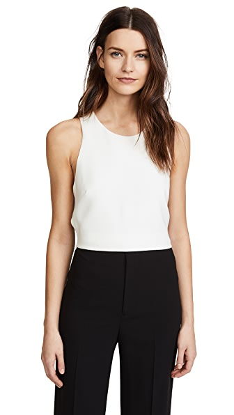 Derek Lam 10 Crosby Cropped Shell With Elastic Back In White