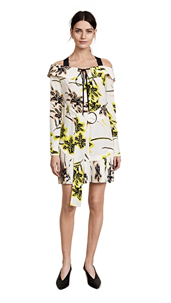 Derek Lam 10 Crosby Off The Shoulder Belted Dress With Pleated Hem In Vanilla
