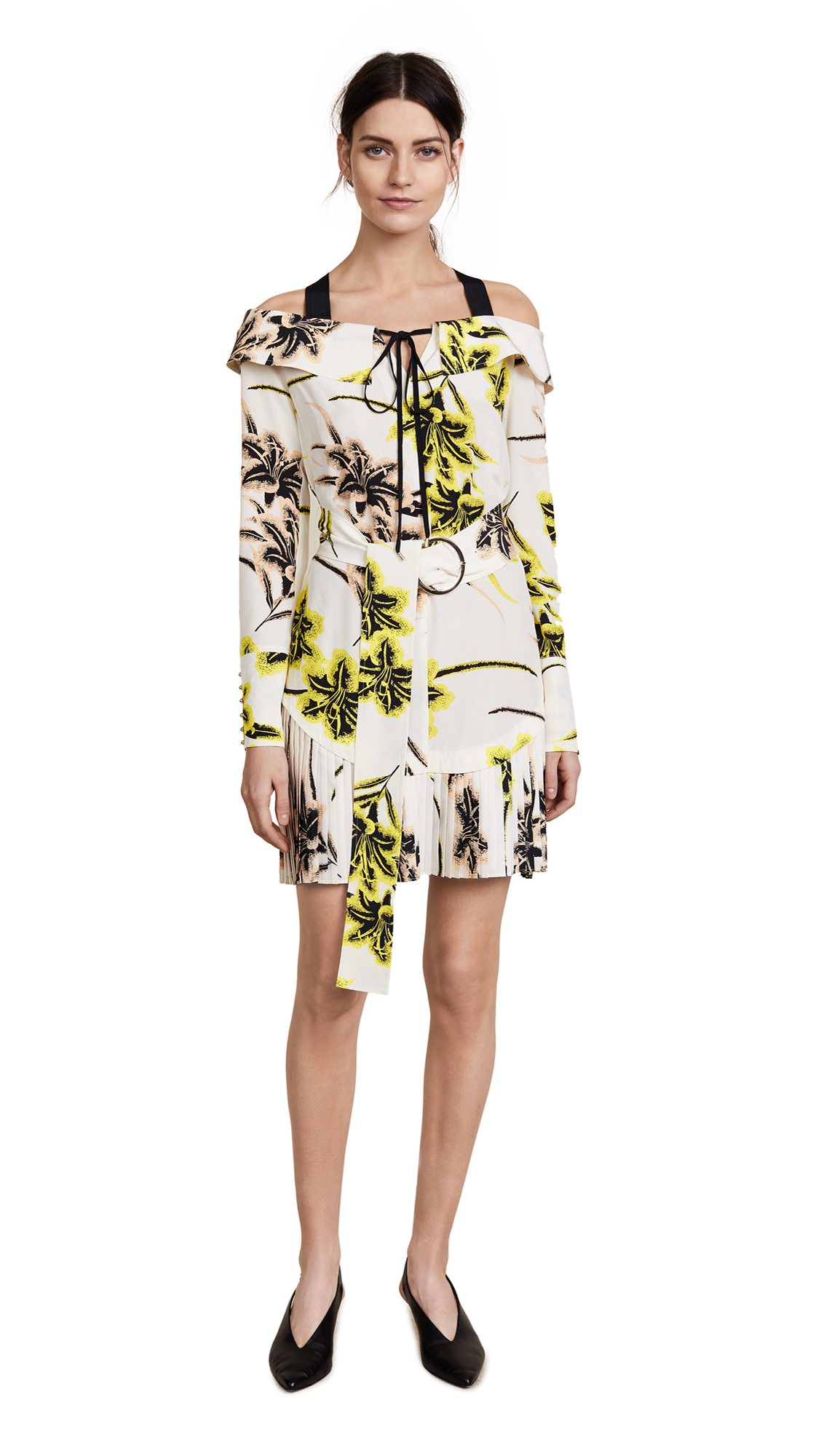 Derek Lam 10 Crosby Off The Shoulder Belted Dress With Pleated Hem