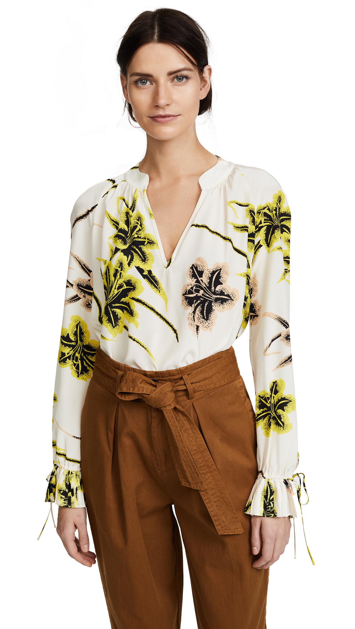 Derek Lam 10 Crosby Pleated Sleeve Blouse In Vanilla