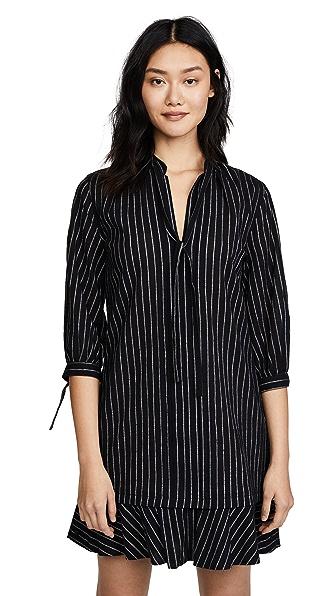 Derek Lam 10 Crosby Long Sleeve Shirtdress with Ties In Black