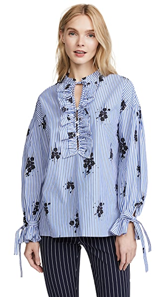 Derek Lam 10 Crosby Ruffle Blouse In Blue