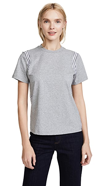 Derek Lam 10 Crosby Mixed Media Tee In Grey Melange