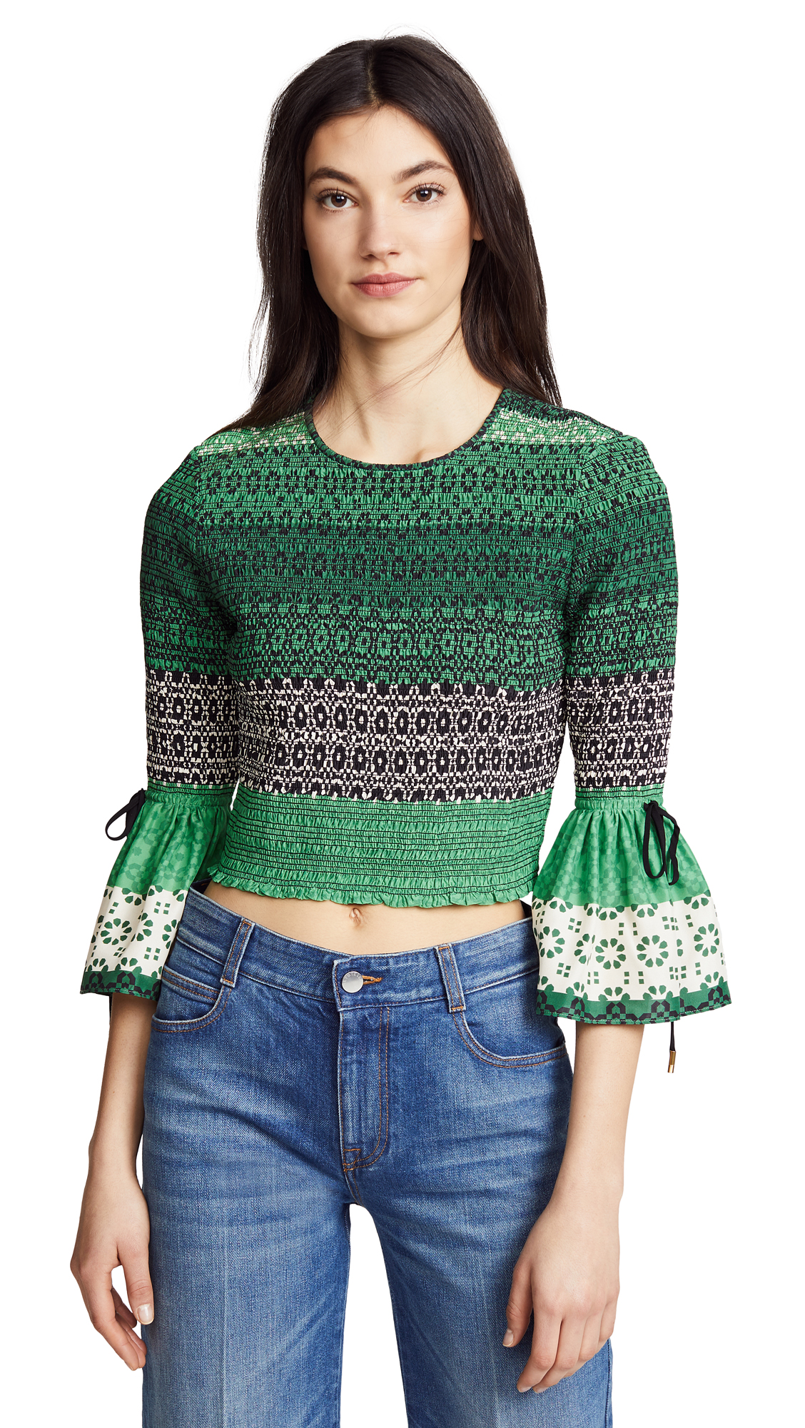 Derek Lam 10 Crosby Smocked Bell Sleeve Blouse In Juniper