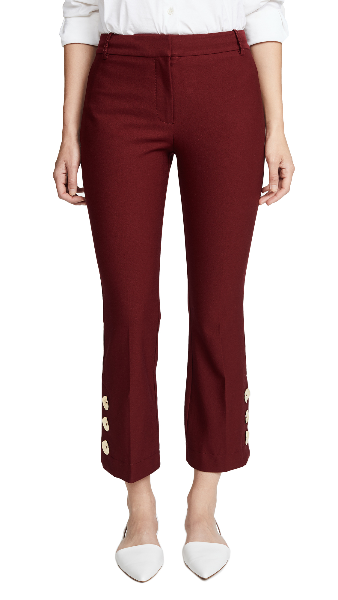 Trousers With Slit Hem Detail in Pink