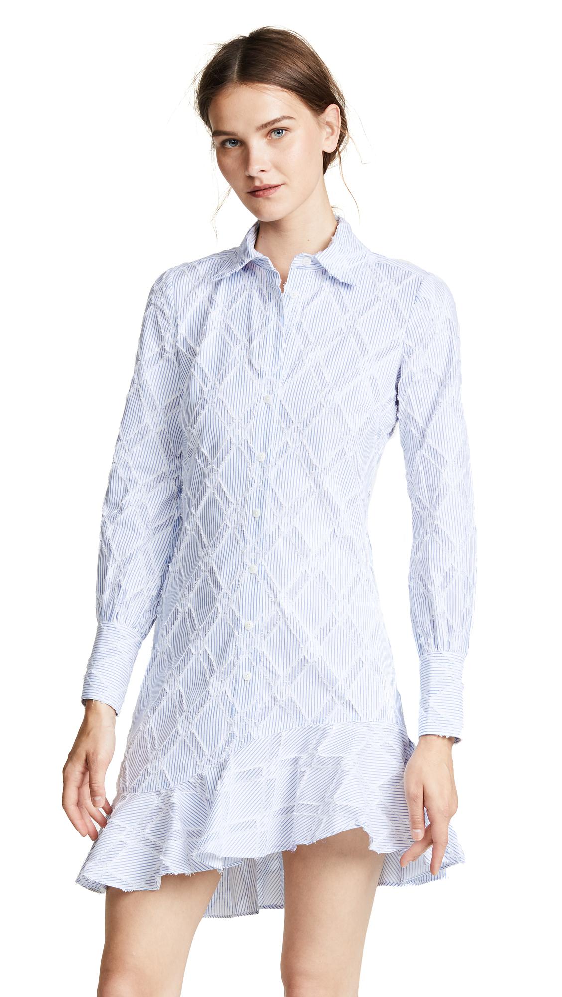 Derek Lam 10 Crosby Shirt Dress With Ruffle Hem