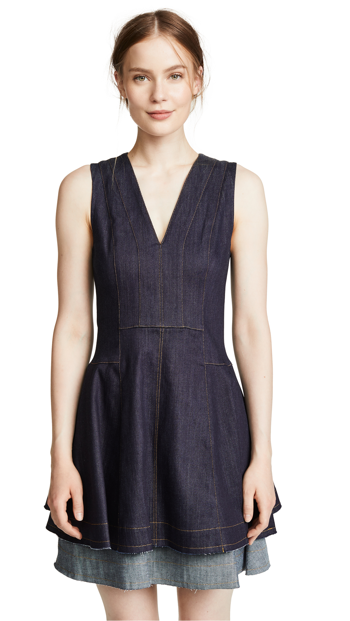 Derek Lam 10 Crosby Fit & Flare Dress In Dark Indigo