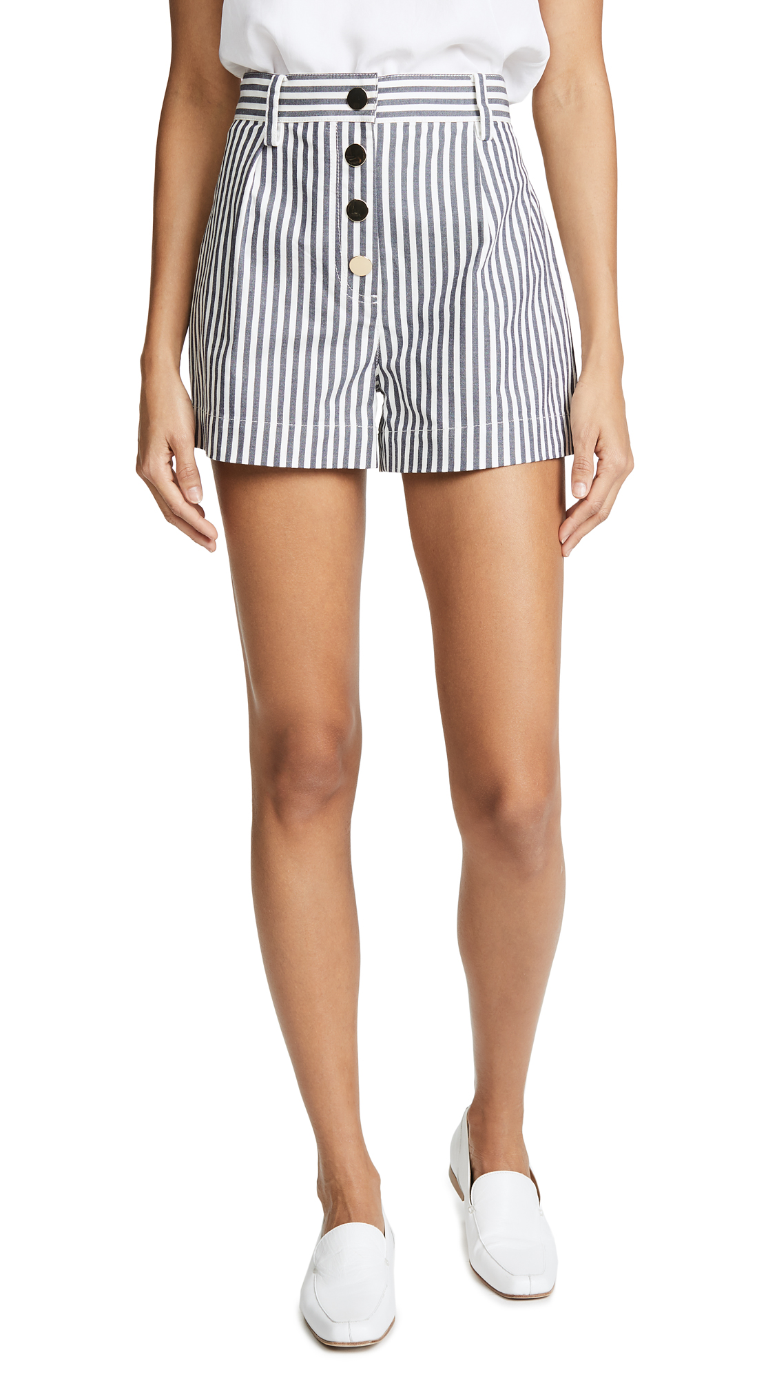 Derek Lam 10 Crosby Belted A Line Shorts In White/Blue