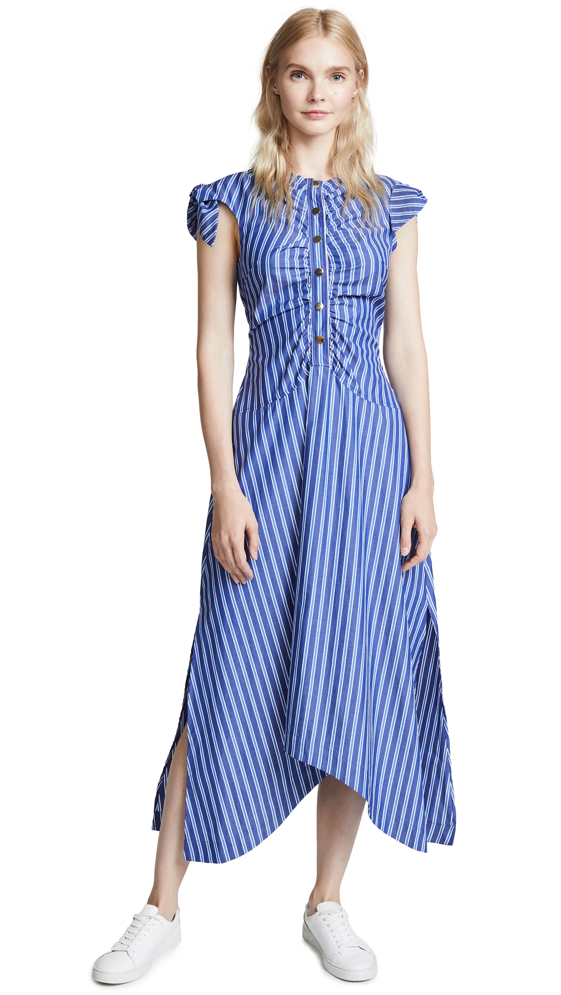 Derek Lam 10 Crosby Ruched Bodice Maxi Dress - Blue