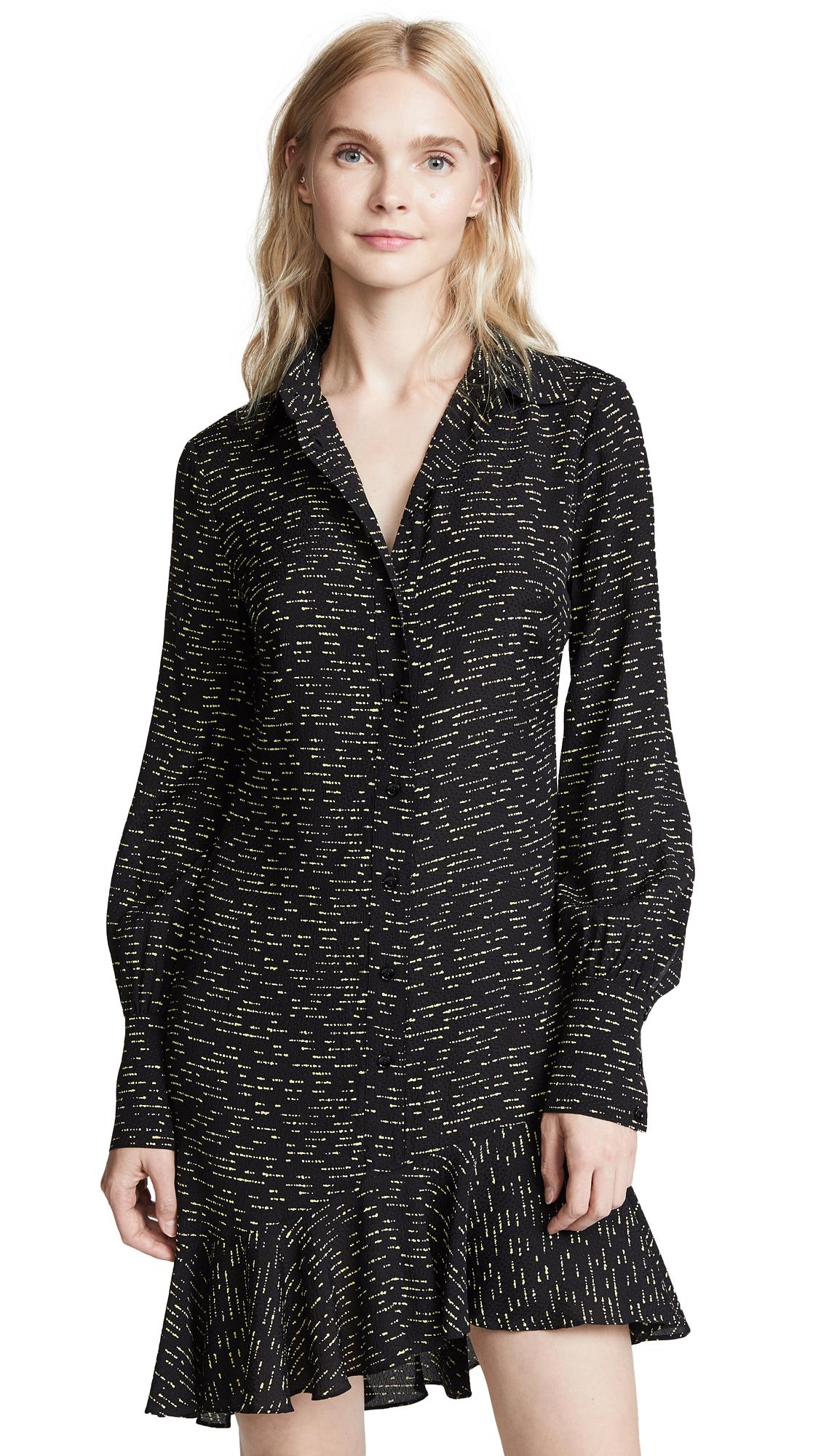 Derek Lam 10 Crosby Shirtdress With Asymmetrical Hem In Black
