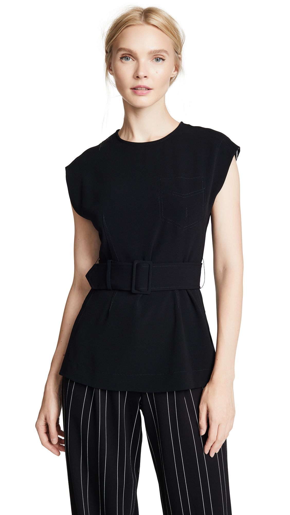 Derek Lam 10 Crosby Belted Tunic In Black