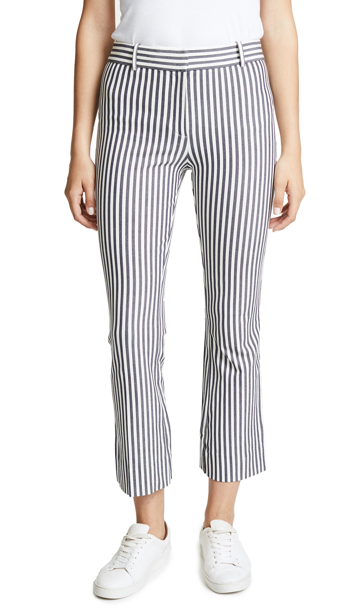 Striped Cropped Flare-Leg Trousers, White/Blue