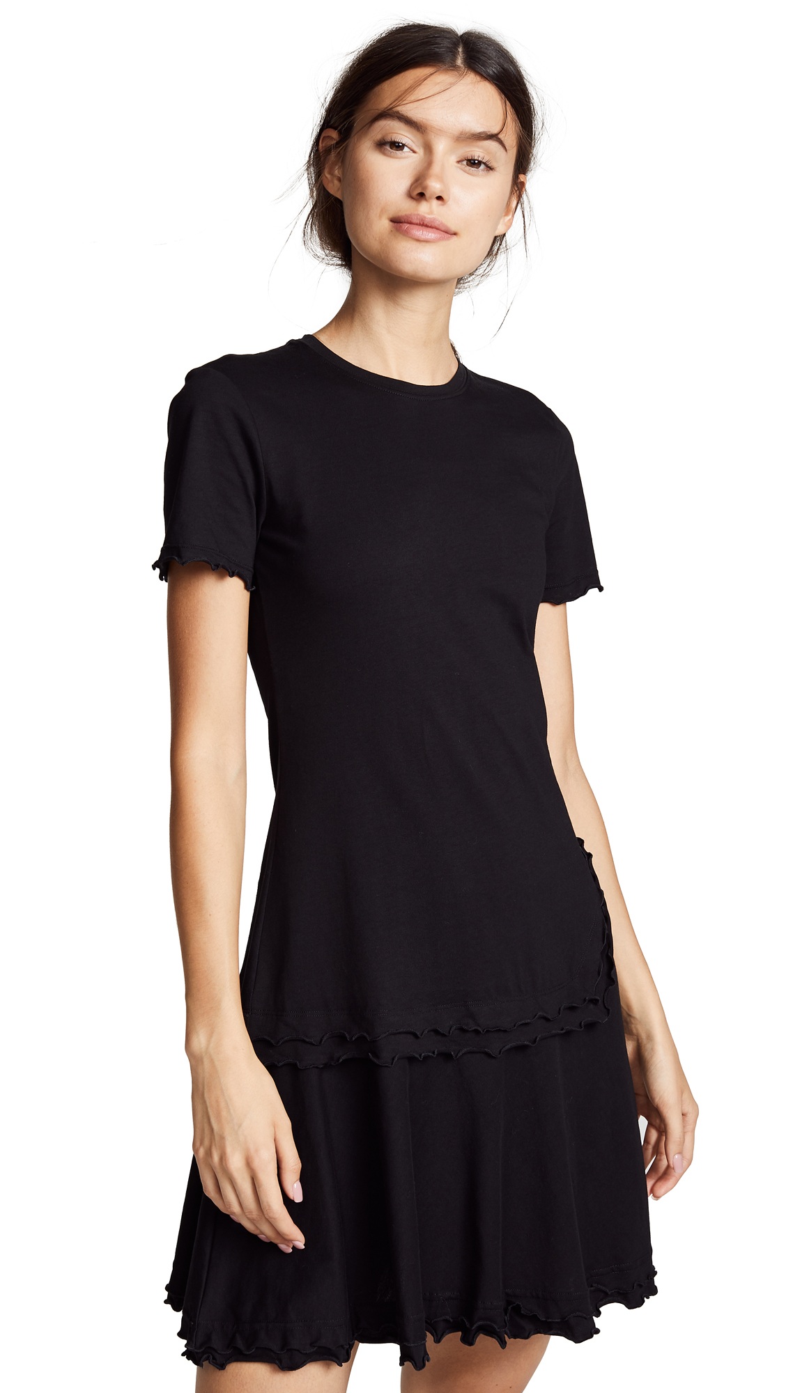 Derek Lam 10 Crosby Short Sleeve T-Shirt Dress In Black